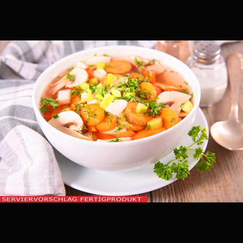 Aromatische Hühnersuppe, vegane Hühnersuppe